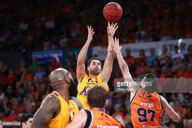 Kevin Lisch of the Kings shoots during the round 10 NBL match between the Cairns Taipans and the Sydney Kings at the Cairns Convention Centre on...