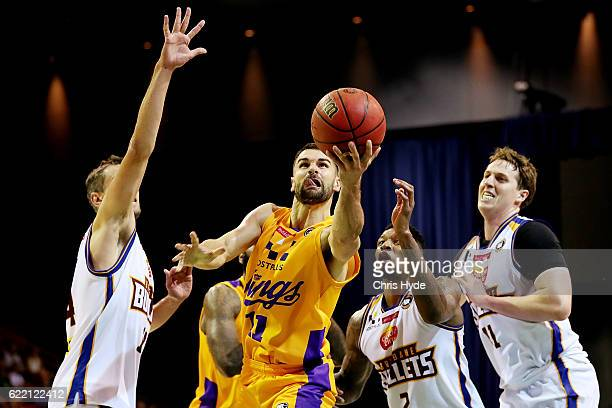 Kevin Lisch of the Kings shoots during the round six NBL match between the Brisbane Bullets and the Sydney Kings at the Brisbane Convention...