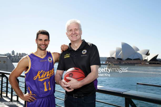 Kevin Lisch of the Sydney Kings and Sydney Kings coach Andrew Gaze pose during an NBL Media Opportunity at Cruise Bar on August 1 2017 in Sydney...