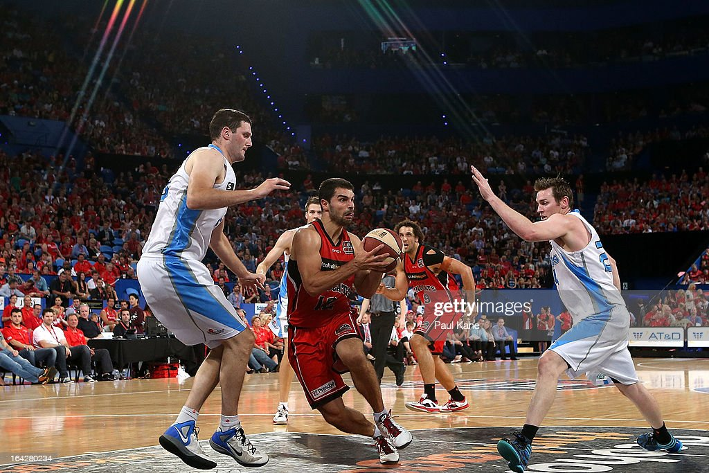 Kevin Lisch of the Wildcats drives into the key during the round 24 NBL match between the Perth Wildcats and the New Zealand Breakers at Perth Arena on March 22, 2013 in Perth, Australia.