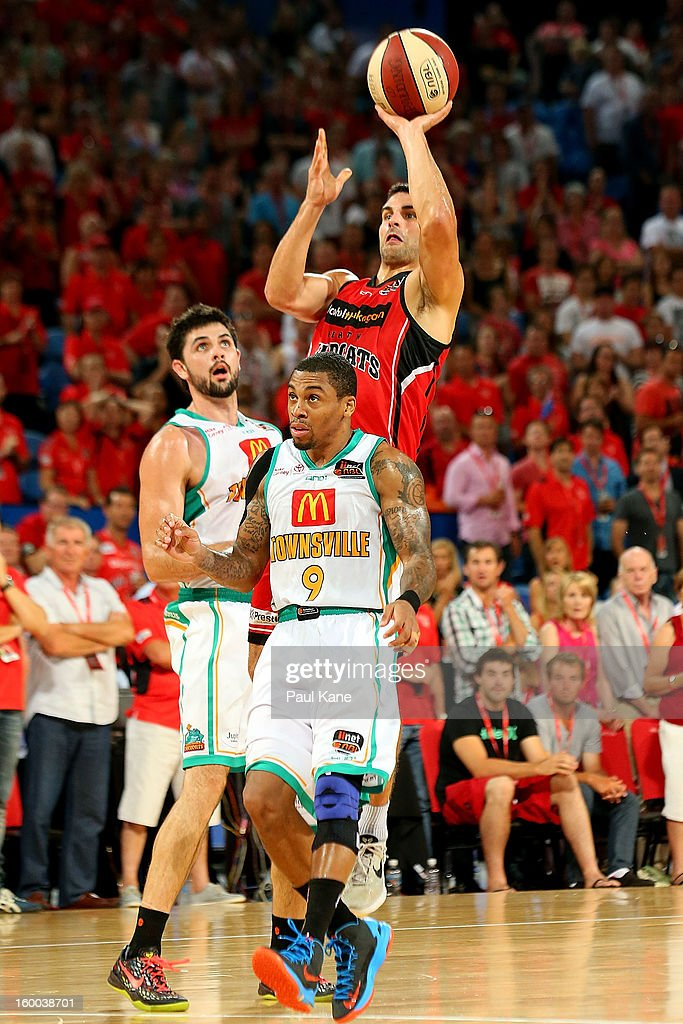 Kevin Lisch of the Wildcats takes a jump shot during the round 16 NBL match between the Perth Wildcats and the Townsville Crocodiles at Perth Arena on January 25, 2013 in Perth, Australia.