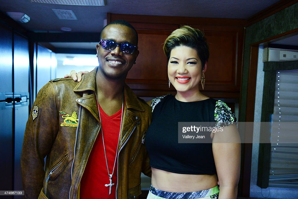Kevin Little and Tessanne Chin backstage at the 9 Mile Music Festival at Miami Dade County Fairground on February 15 2014 in Miami Florida