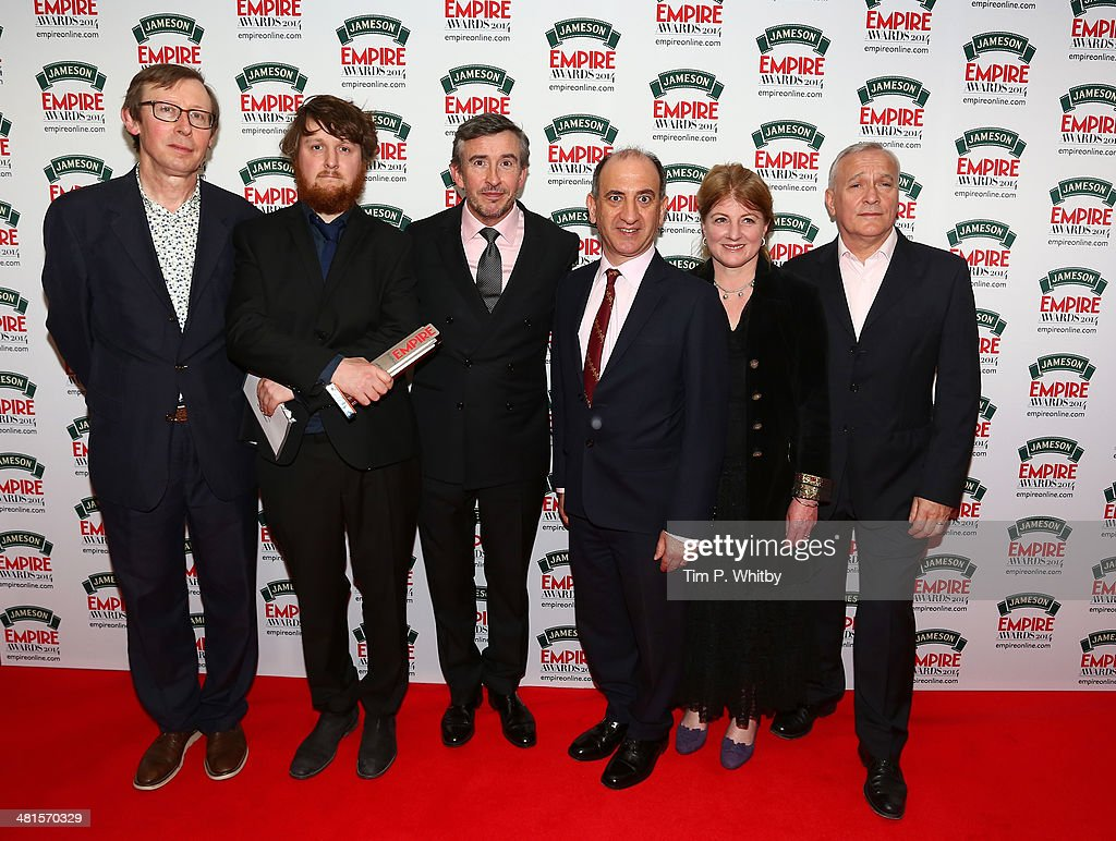 Kevin Loader, guest, Steve Coogan, Armando Iannucci, Felicity Montagu and Simon Greenall pose in the press room with the award for Best Comedy presented to 'Alan Partridge: Alpha Papa'during the Jameson Empire Awards 2014 at the Grosvenor House Hotel on March 30, 2014 in London, England. Regarded as a relaxed end to the awards show season, the Jameson Empire Awards celebrate the film industry's success stories of the year with winners being voted for entirely by members of the public. Visit empireonline.com/awards2014 for more information.