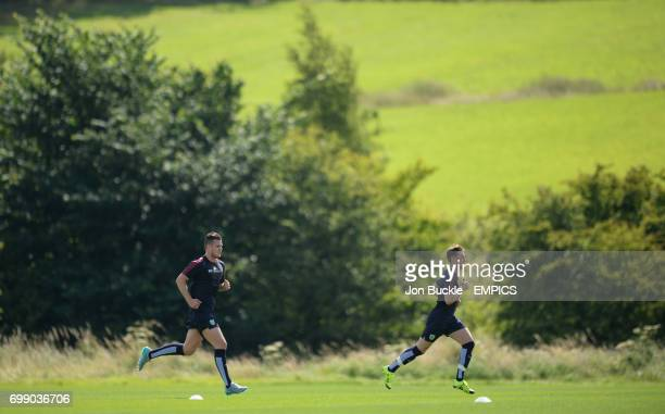 Kevin Long and Chris Long of Burnley Football Club during a training session at Burnley Training Ground