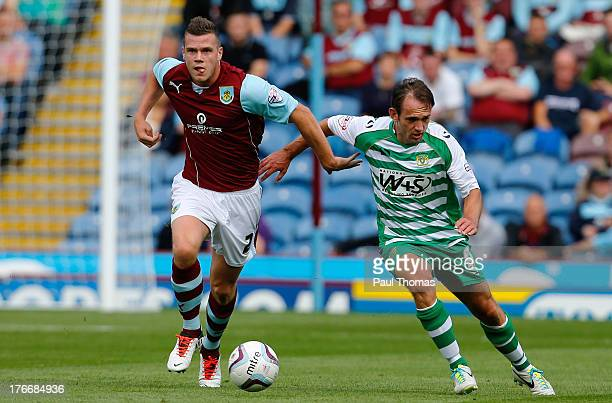 Kevin Long of Burnley in action with James Hayter of Yeovil during the Sky Bet Championship match between Burnley and Yeovil Town at Turf Moor on...