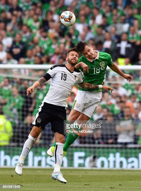 Kevin Long of Republic of Ireland and Guido Burgstaller of Austria during the FIFA 2018 World Cup Qualifier between Republic of Ireland and Austria...