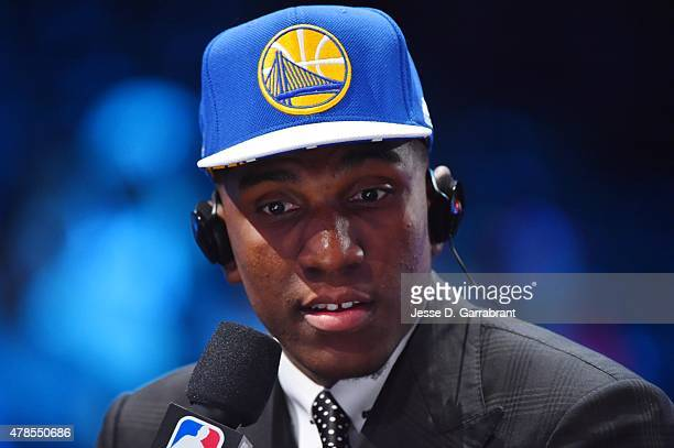 Kevin Looney the 30th pick overall in the NBA Draft by the Golden State Warriors speaks to the media during the 2015 NBA Draft at the Barclays Center...