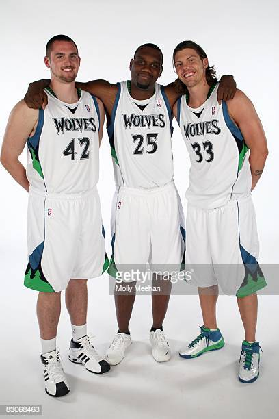 Kevin Love Al Jefferson and Mike Miller of the Minnesota Timberwolves pose for a group portrait during NBA Media Day on September 29 2008 at the...