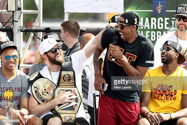 Kevin Love and Channing Frye of the Cleveland Cavaliers react onstage during the Cleveland Cavaliers 2016 NBA Championship victory parade and rally...
