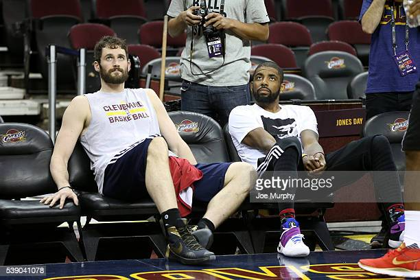 Kevin Love and Kyrie Irving of the Cleveland Cavaliers during practice and media availability as part of the 2016 NBA Finals on June 9 2016 at...