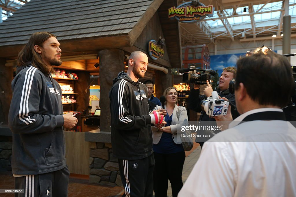 Kevin Love and Lou Amundson of the Minnesota Timberwolves speak to the media after trick or treating with kids who have cancer or other life-threatening illness, from Hope Kids, and their families on October 31, 2012 at the Mall of America in Bloomington, Minnesota.