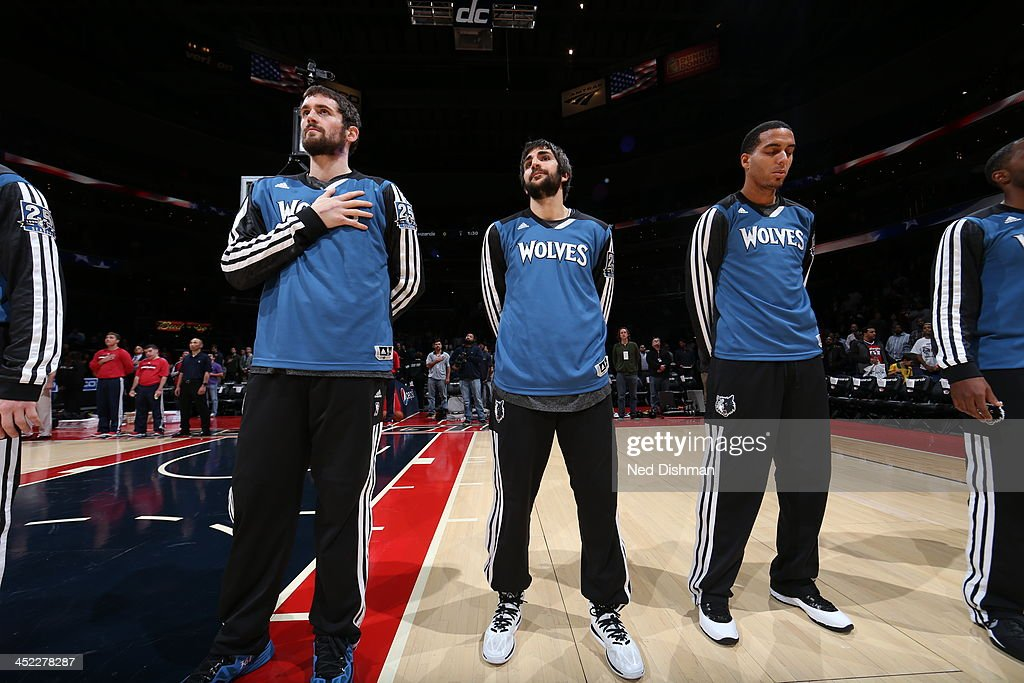 <a gi-track='captionPersonalityLinkClicked' href=/galleries/search?phrase=Kevin+Love&family=editorial&specificpeople=4212726 ng-click='$event.stopPropagation()'>Kevin Love</a> #42 and <a gi-track='captionPersonalityLinkClicked' href=/galleries/search?phrase=Ricky+Rubio&family=editorial&specificpeople=4028920 ng-click='$event.stopPropagation()'>Ricky Rubio</a> #9 of the Minnesota Timberwolves look on against the Washington Wizards during the game at the Verizon Center on November 19, 2013 in Washington, DC.