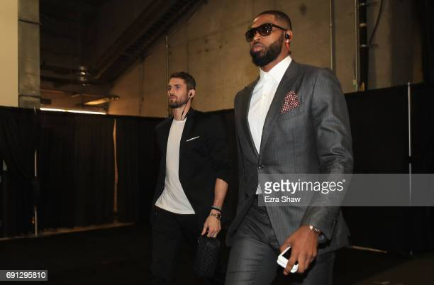 Kevin Love and Tristan Thompson of the Cleveland Cavaliers arrive for Game 1 of the 2017 NBA Finals against the Golden State Warriors at ORACLE Arena...