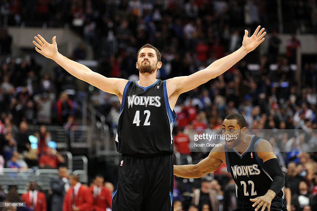 Kevin Love and Wayne Ellington of the Minnesota Timberwolves celebrate the win against the Los Angeles Clippers at Staples Center on January 20 2012...