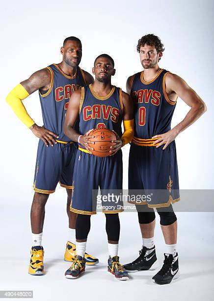 Kevin Love Kyrie Irving and LeBron James of the Cleveland Cavaliers pose for a photo during media day on September 28 2015 at the Cleveland Clinic...