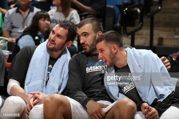 Kevin Love Nikola Pekovic and Jose Barea of the Minnesota Timberwolves rest on the bench during the game against the Maccabi Haifa on October 16 2012...