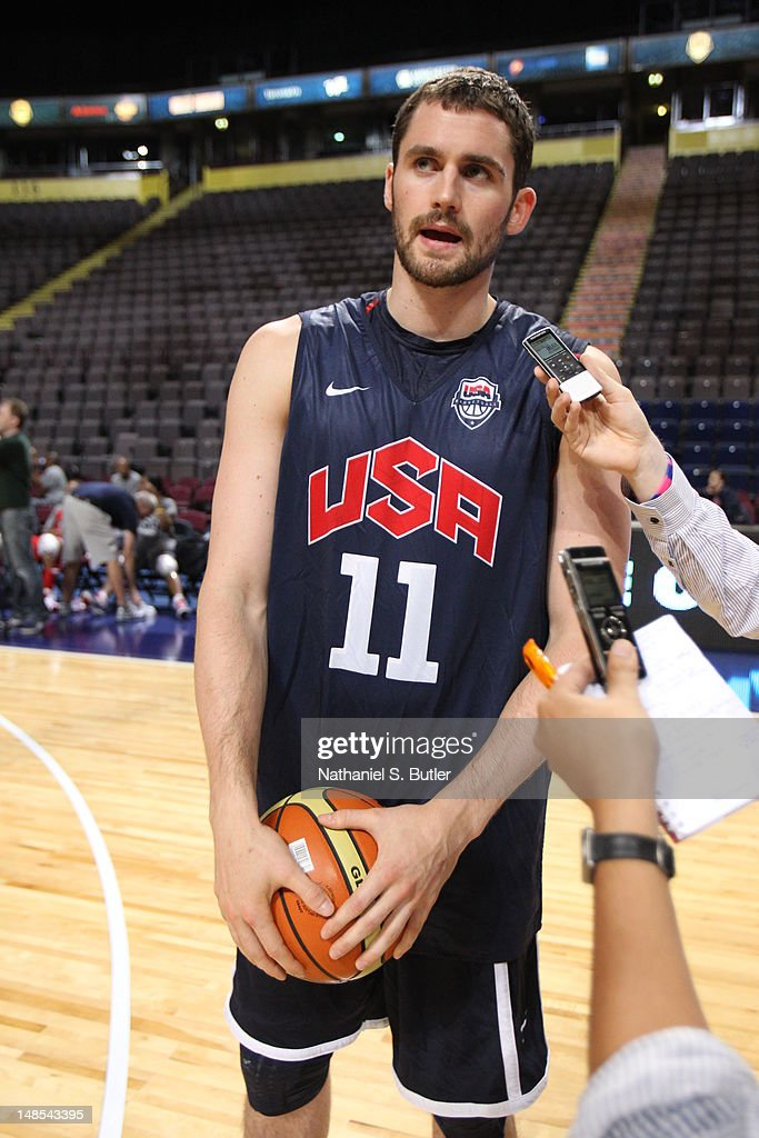 <a gi-track='captionPersonalityLinkClicked' href=/galleries/search?phrase=Kevin+Love&family=editorial&specificpeople=4212726 ng-click='$event.stopPropagation()'>Kevin Love</a> #11 of the 2012 US Men's Senior National Team talks to the media during a 2012 US Men's Senior National Team Practice at the Manchester Arena on July 18, 2012 in Manchester, UK.