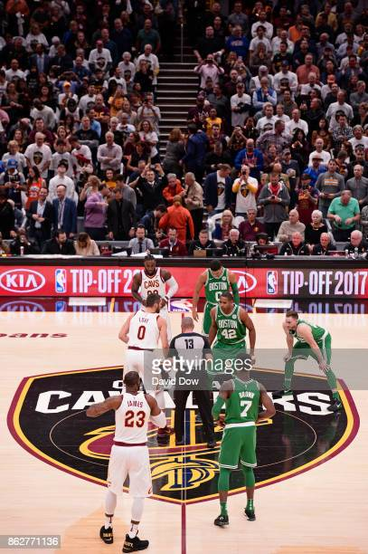 Kevin Love of the Cleveland Cavaliers and Al Horford of the Boston Celtics go up for the jump ball to open the season on October 17 2017 at Quicken...