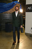 Kevin Love of the Cleveland Cavaliers arrives before Game Five of the 2016 NBA Finals against the Golden State Warriors on June 13 2016 at ORACLE...
