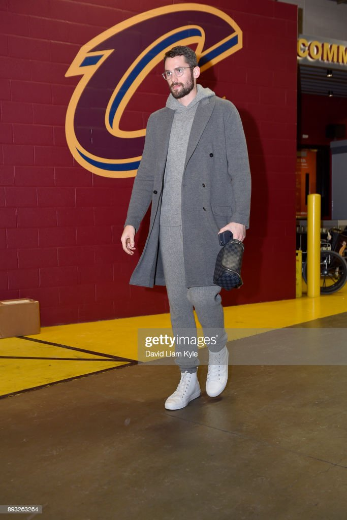 Kevin Love #0 of the Cleveland Cavaliers arrives before the game against the Los Angeles Lakers on December 14, 2017 at Quicken Loans Arena in Cleveland, Ohio.