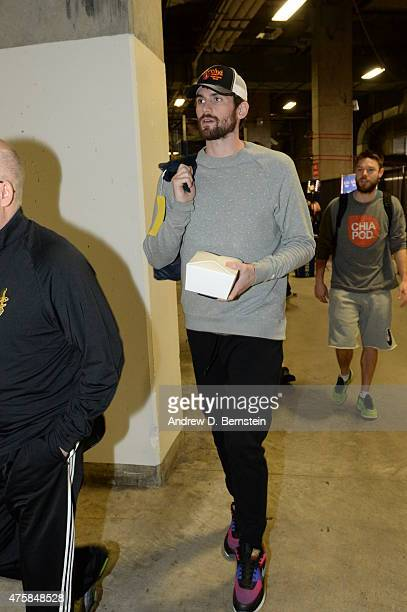 Kevin Love of the Cleveland Cavaliers attends a practice day and media availability prior to the 2015 NBA Finals against the Golden State Warriors on...