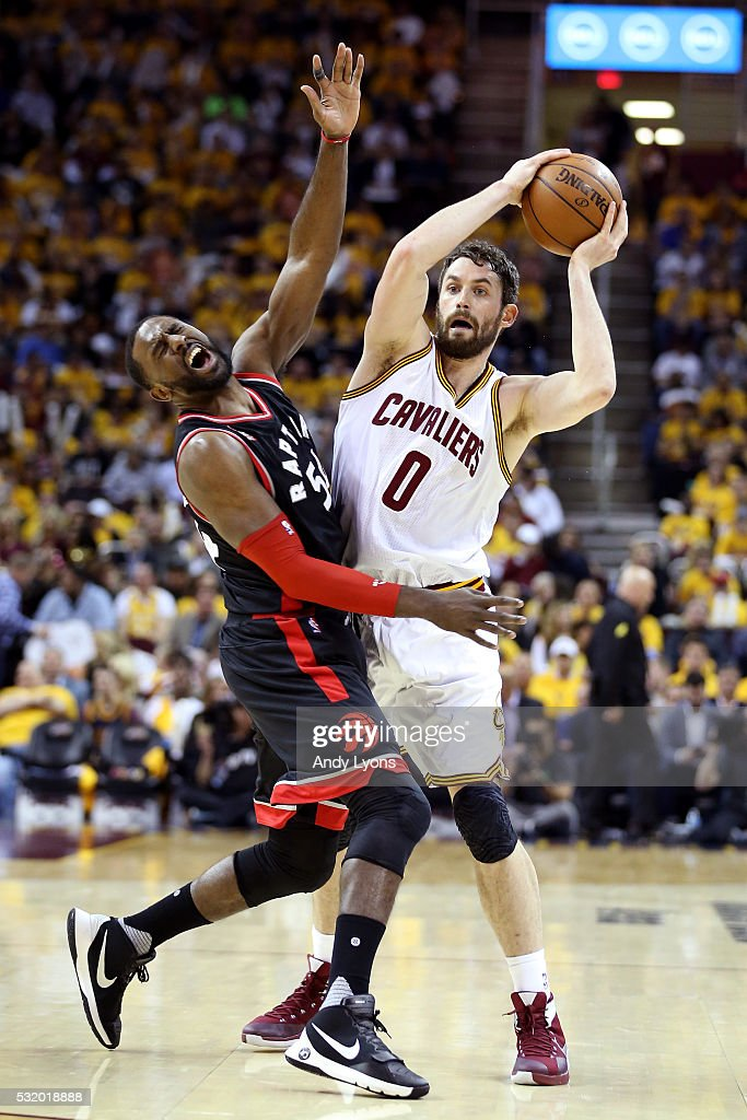 Kevin Love #0 of the Cleveland Cavaliers collides with Patrick Patterson #54 of the Toronto Raptors in the third quarter and is called for a flagrant foul in game one of the Eastern Conference Finals during the 2016 NBA Playoffs at Quicken Loans Arena on May 17, 2016 in Cleveland, Ohio.