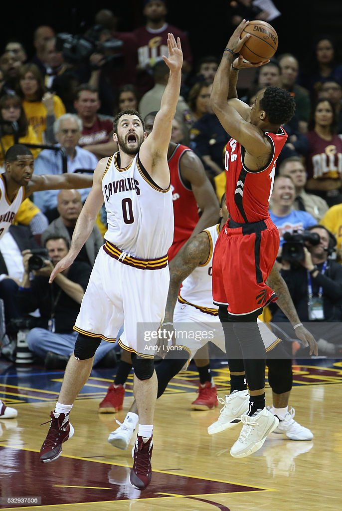 Kevin Love #0 of the Cleveland Cavaliers defends a shot by DeMar DeRozan #10 of the Toronto Raptors during the first half in game two of the Eastern Conference Finals during the 2016 NBA Playoffs at Quicken Loans Arena on May 19, 2016 in Cleveland, Ohio.