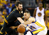 Kevin Love of the Cleveland Cavaliers defends Stephen Curry of the Golden State Warriors during the second quarter in Game 5 of the 2016 NBA Finals...