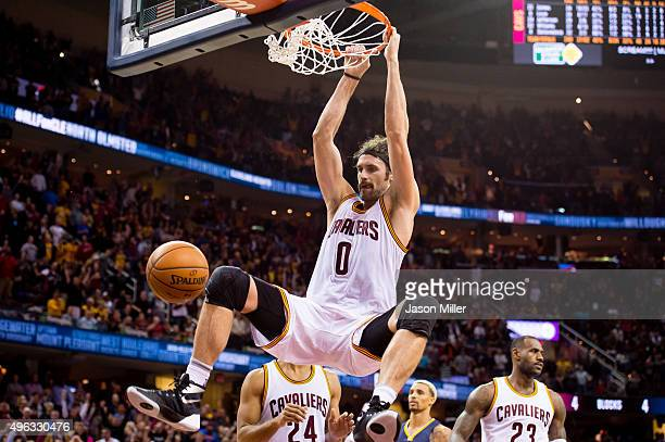 Kevin Love of the Cleveland Cavaliers dunks during the second half against the Indiana Pacers at Quicken Loans Arena on November 8 2015 in Cleveland...