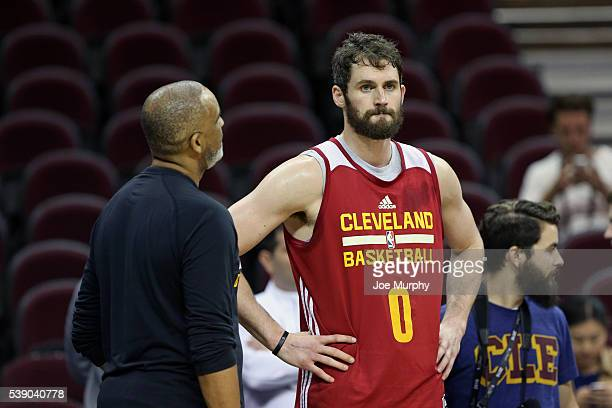 Kevin Love of the Cleveland Cavaliers during practice and media availability as part of the 2016 NBA Finals on June 9 2016 at Quicken Loans Arena in...