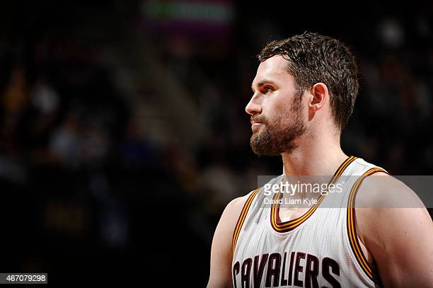 Kevin Love of the Cleveland Cavaliers during the game against the Indiana Pacers on March 20 2015 at Quicken Loans Arena in Cleveland Ohio NOTE TO...