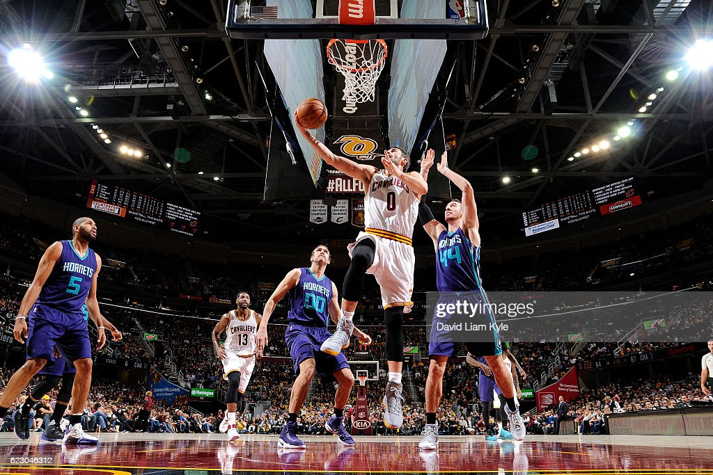 Kevin Love #0 of the Cleveland Cavaliers goes for the lay up during the game against the Charlotte Hornets on November 13, 2016 at Quicken Loans Arena in Cleveland, Ohio.