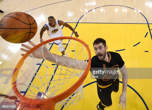 Kevin Love of the Cleveland Cavaliers goes up for a shot against the Golden State Warriors in Game 2 of the 2017 NBA Finals at ORACLE Arena on June 4...