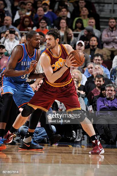 Kevin Love of the Cleveland Cavaliers handles the ball against the Oklahoma City Thunderon December 17 2015 at The Quicken Loans Arena in Cleveland...