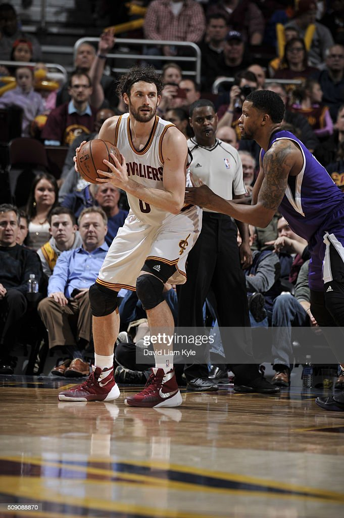 <a gi-track='captionPersonalityLinkClicked' href=/galleries/search?phrase=Kevin+Love&family=editorial&specificpeople=4212726 ng-click='$event.stopPropagation()'>Kevin Love</a> #0 of the Cleveland Cavaliers handles the ball against the Sacramento Kings on February 8, 2016 at Quicken Loans Arena in Cleveland, Ohio.