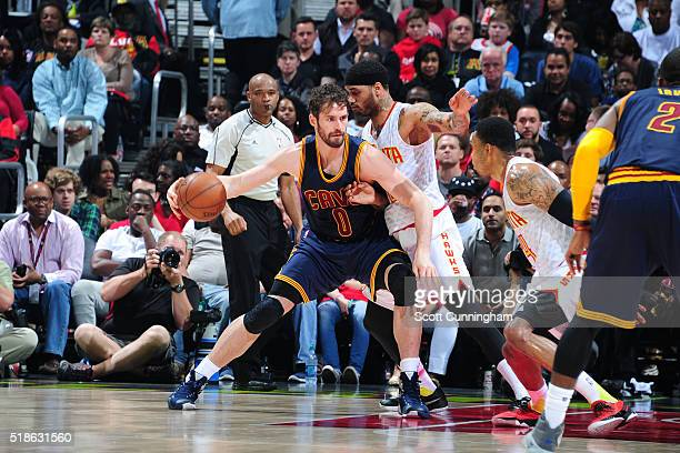 Kevin Love of the Cleveland Cavaliers handles the ball against the Atlanta Hawks on April 1 2016 at Philips Arena in Atlanta Georgia NOTE TO USER...