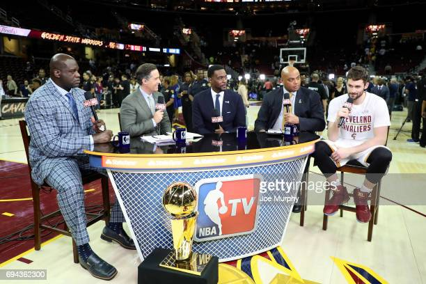 Kevin Love of the Cleveland Cavaliers is interviewed live post game on NBA TV after the game between the Golden State Warriors and Cleveland...