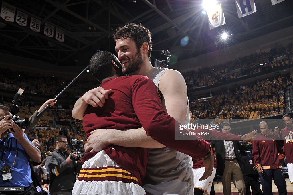 Kevin Love #0 of the Cleveland Cavaliers is seen before the game against the Atlanta Hawks in Game One of the Eastern Conference Semifinals of the 2016 NBA Playoffs on May 2, 2016 at The Quicken Loans Arena in Cleveland, Ohio.