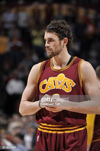 Kevin Love of the Cleveland Cavaliers is seen during the game against the Oklahoma City Thunderon December 17 2015 at The Quicken Loans Arena in...