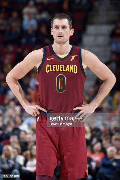 Kevin Love of the Cleveland Cavaliers looks on during the game against the Indiana Pacers on November 1 2017 at Quicken Loans Arena in Cleveland Ohio...