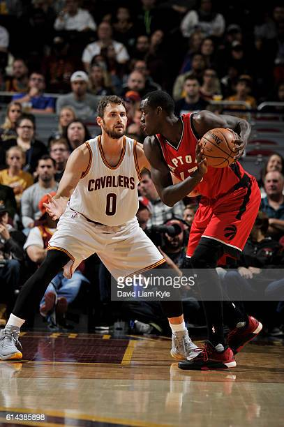 Kevin Love of the Cleveland Cavaliers plays defense against Pascal Siakam of the Toronto Raptors during a preseason game on October 13 2016 at...