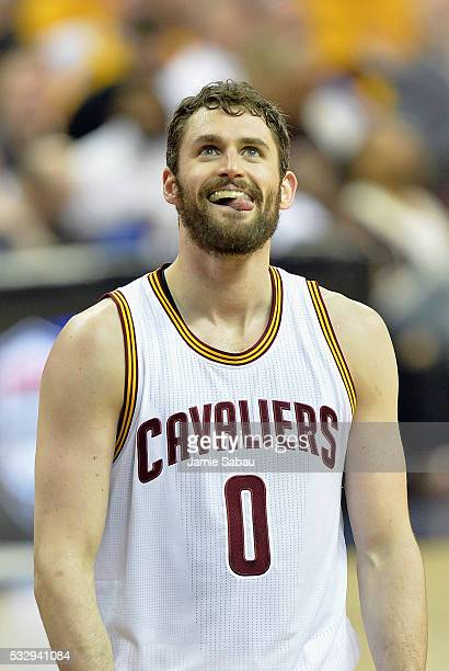 Kevin Love of the Cleveland Cavaliers reacts during the second half against the Toronto Raptors in game two of the Eastern Conference Finals during...