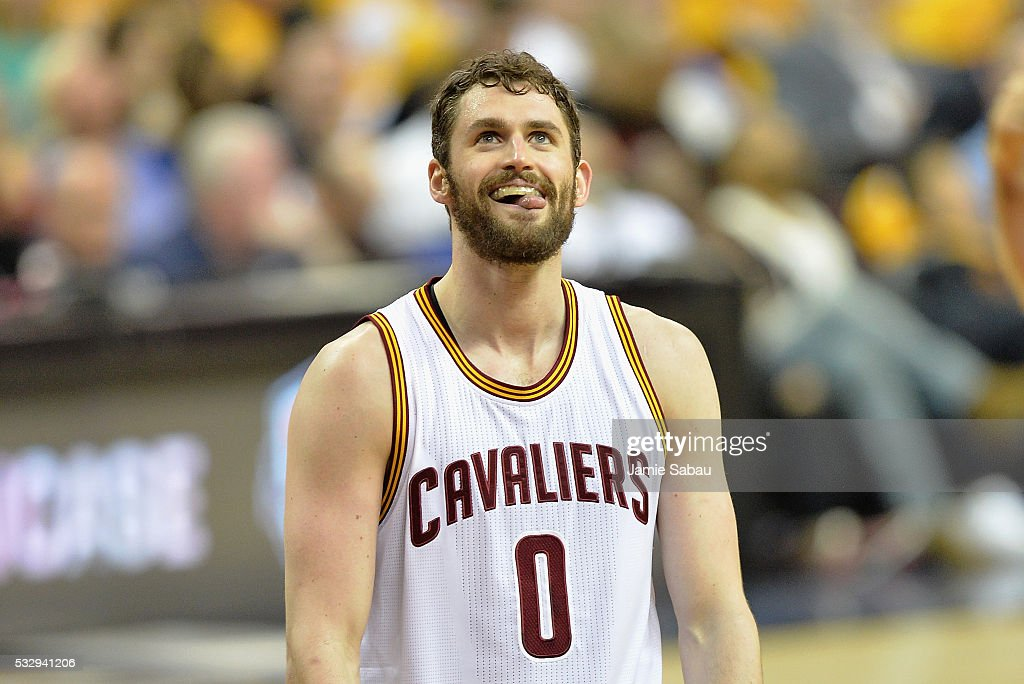 Kevin Love #0 of the Cleveland Cavaliers reacts during the second half against the Toronto Raptors in game two of the Eastern Conference Finals during the 2016 NBA Playoffs at Quicken Loans Arena on May 19, 2016 in Cleveland, Ohio.