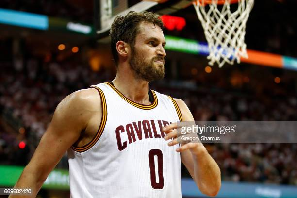 Kevin Love of the Cleveland Cavaliers reacts to a second half play while playing the Indiana Pacers in Game Two of the Eastern Conference...