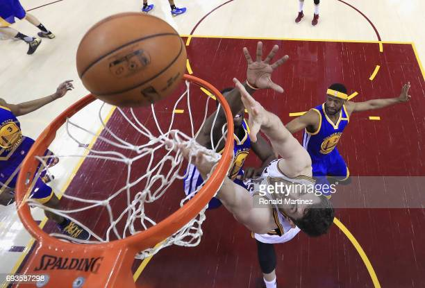 Kevin Love of the Cleveland Cavaliers shoots against Draymond Green of the Golden State Warriors in the first half in Game 3 of the 2017 NBA Finals...