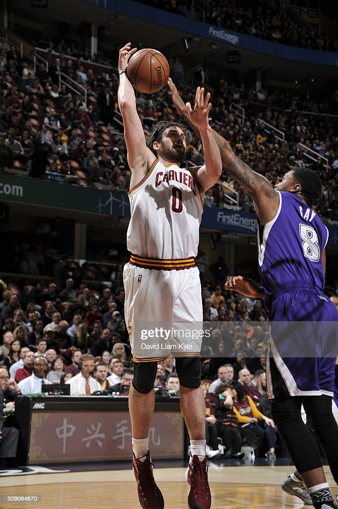 <a gi-track='captionPersonalityLinkClicked' href=/galleries/search?phrase=Kevin+Love&family=editorial&specificpeople=4212726 ng-click='$event.stopPropagation()'>Kevin Love</a> #0 of the Cleveland Cavaliers shoots against Rudy Gay #8 of the Sacramento Kings on February 8, 2016 at Quicken Loans Arena in Cleveland, Ohio.