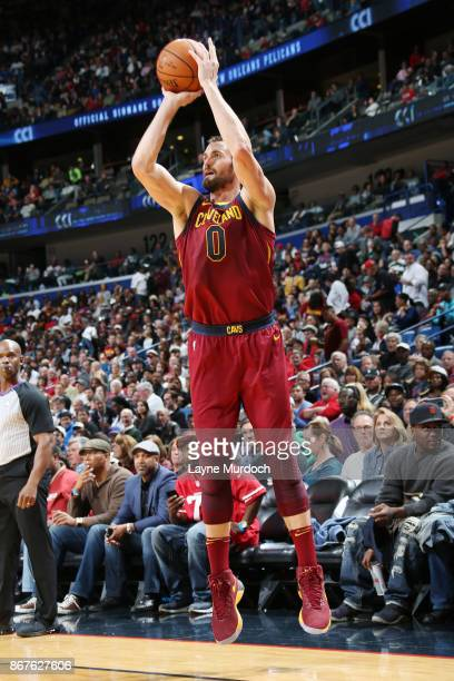 Kevin Love of the Cleveland Cavaliers shoots the ball against the New Orleans Pelicans on October 28 2017 at the Smoothie King Center in New Orleans...