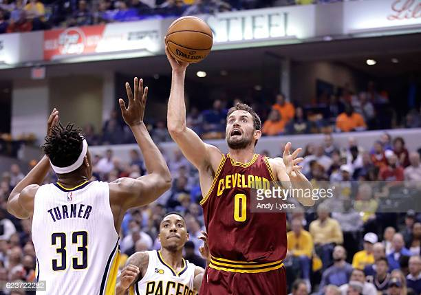 Kevin Love of the Cleveland Cavaliers shoots the ball during the game against the Indiana Pacers at Bankers Life Fieldhouse on November 16 2016 in...