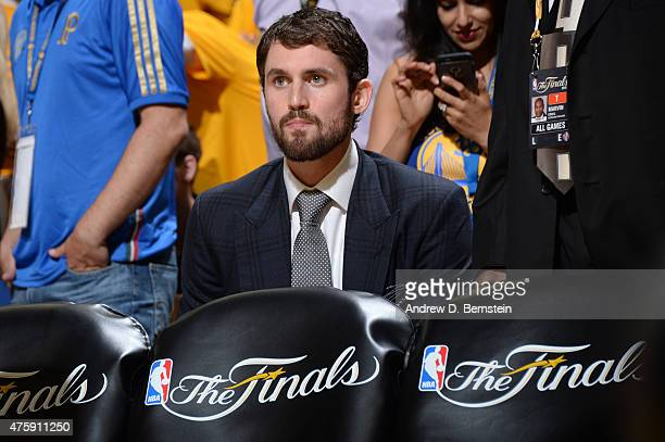 Kevin Love of the Cleveland Cavaliers sits on the bench during Game One of the 2015 NBA Finals on June 4 2015 at Oracle Arena in Oakland California...
