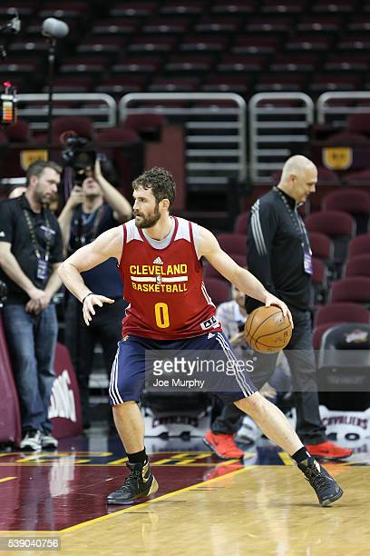 Kevin Love of the Cleveland Cavaliers warms up during practice and media availability as part of the 2016 NBA Finals on June 9 2016 at Quicken Loans...